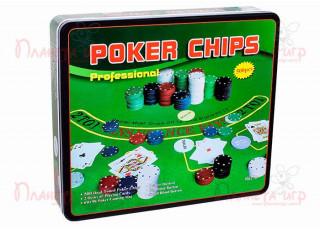 Покерный набор на 500 фишек с номиналом + сукно (жестяная коробка)