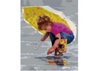 Раскраска по номерам. Под жёлтым зонтиком (40х50)