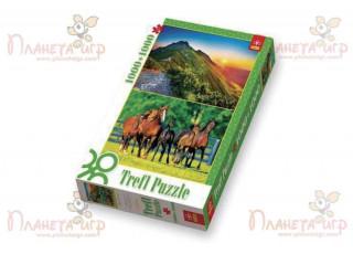 Пазл Закат солнца в Татрах + Табун лошадей, 1000+1000 эл.