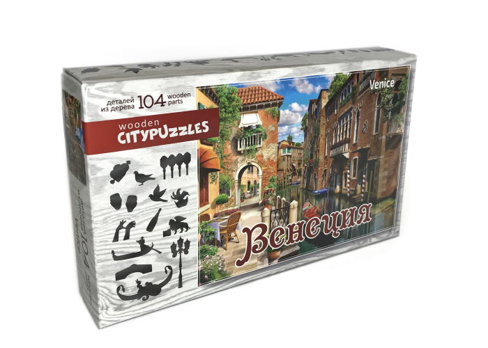 Пазл деревянный фигурный Венеция, Citypuzzles, 104 эл.