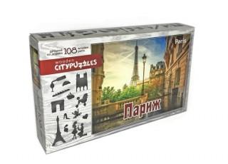 Пазл деревянный фигурный Париж, Citypuzzles, 108 эл.