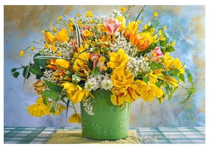 Пазл Веcенние цветы в зелёной вазе, 1000 эл.