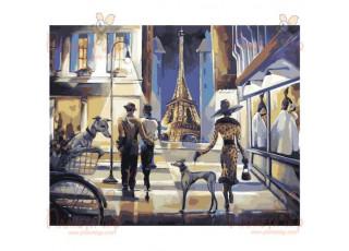 Раскраска по номерам. Прогулка по вечернему Парижу (40х50)