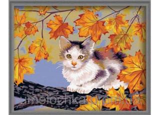 Раскраска по номерам. Непослушный котёнок (40х50)