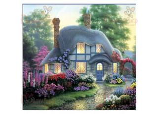 Раскраска по номерам Дом феи в цветах (40х50)