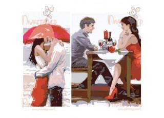 Раскраска по номерам Первое свидание (40х50, диптих)