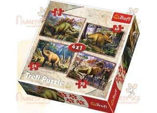 Пазл 4 в 1 Динозавры, 35, 48, 54, 70 эл.