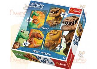 Пазл 4 в 1 Хороший динозавр, 35, 48, 54, 70 эл.