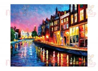 Раскраска по номерам Амстердам вечером (40х50)