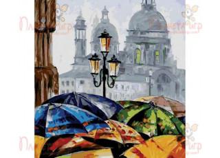 Раскраска по номерам Яркие зонтики (40х50)