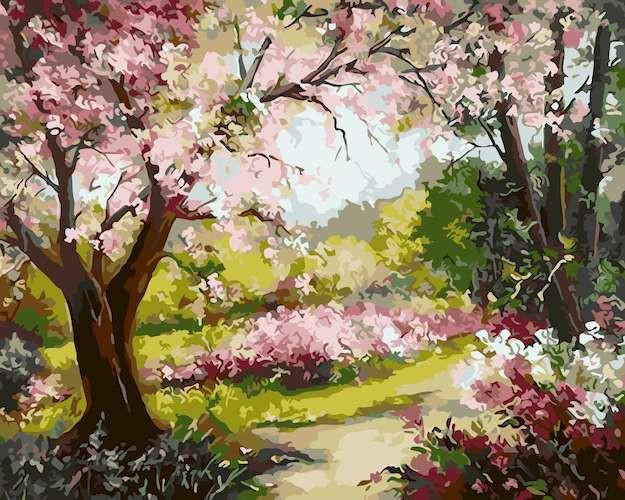 Раскраска по номерам. Весенний сад (40х50)