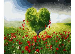 Раскраска по номерам Дерево-сердце (40х50)