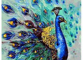 Раскраска по номерам Красочный павлин (40х50)