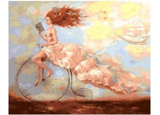 Раскраска по номерам Чтение в облаках (40х50)