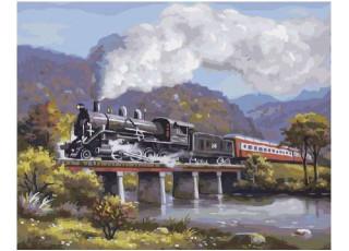 Раскраска по номерам Экспресс на мосту (40х50)