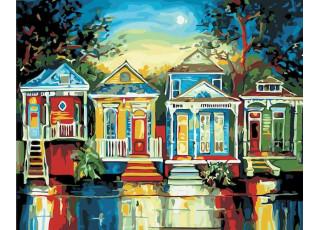 Раскраска по номерам Цветные домики (40х50)