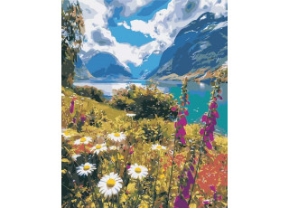 Раскраска по номерам Лето в горах (40х50)