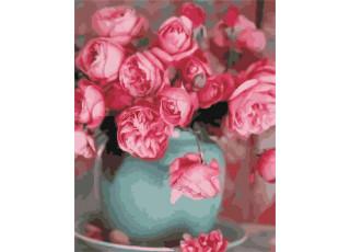 Раскраска по номерам Розы в вазе (40х50)