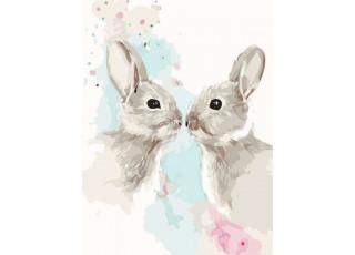 Раскраска по номерам Цветные кролики (30х40) (без коробки)