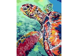 Раскраска по номерам Радужная черепаха (40х50)
