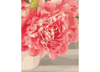 Раскраска по номерам Розовый пион (40х50)