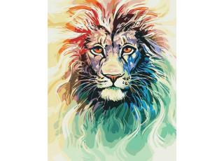 Раскраска по номерам Цветной лев (40х50)