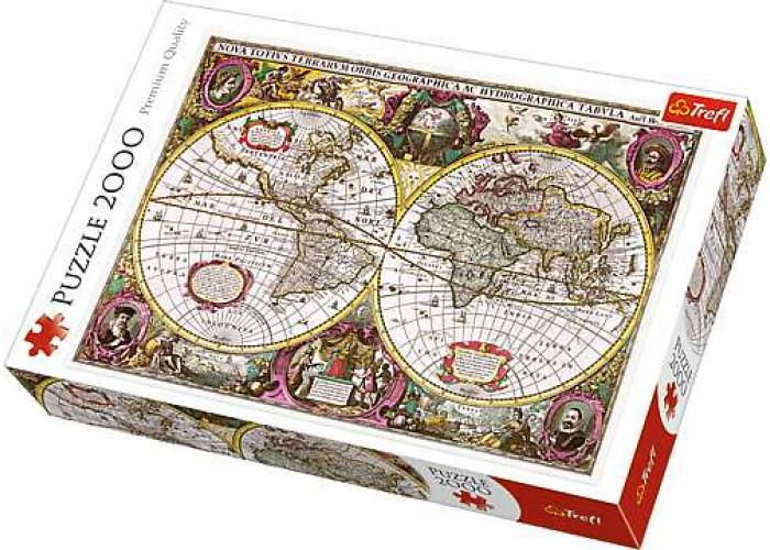 Пазл Новая земля и водная карта Земли, 1630 г., 2000 эл.