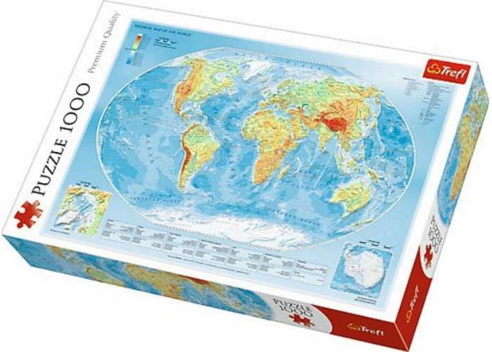 Пазл Физическая карта мира, 1000 эл.
