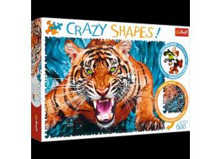 Пазл Crazy Shapes Лицом к лицу с тигром, 600 эл.