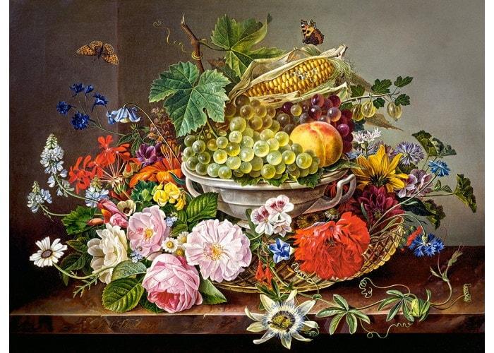 Пазл Натюрморт с цветами и фруктовой корзиной, 2000 эл.