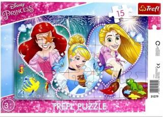 Пазл рамочный Три улыбающиеся принцессы, Принцессы, 15 эл.