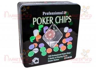 Покерный набор на 100 фишек с номиналом (жестяная коробка)