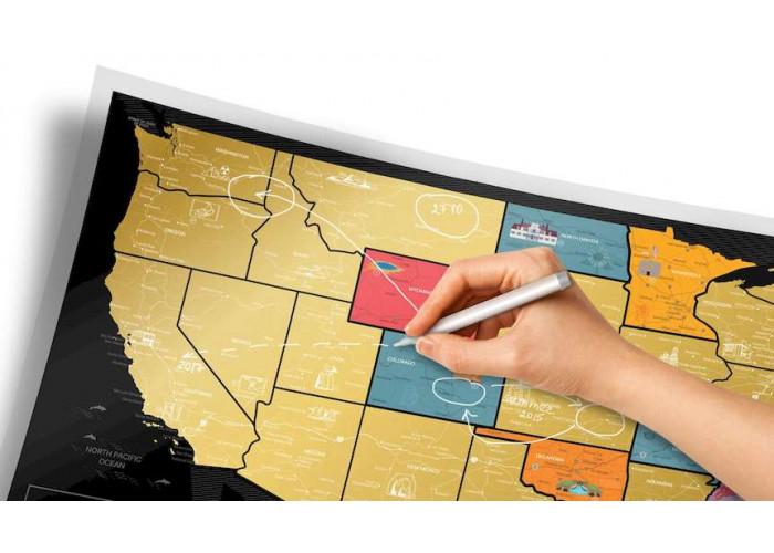 Скретч карта мира Travel Map™ USA Black