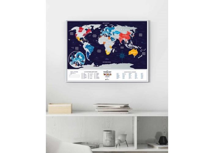 Скретч карта мира Travel Map™ Holiday World в раме
