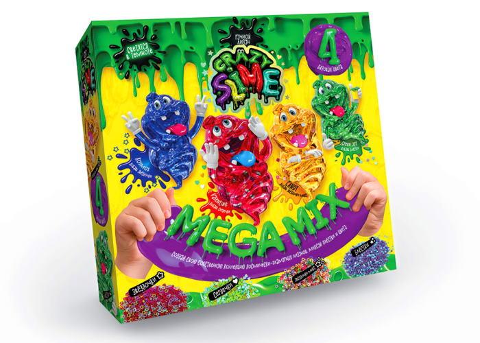 Набор для опытов Crazy Slime. Mega Mix 4в1: Kosmos, Valentine, Candy, Green Joy