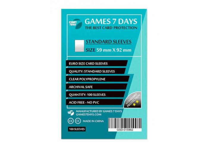 Протекторы для карт Games7Days (59 х 92 мм, Euro, 100 шт.) (STANDART)