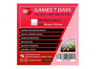 Протекторы для карт Games7Days (80 х 80 мм, Square Medium, 50 шт.) (PREMIUM)