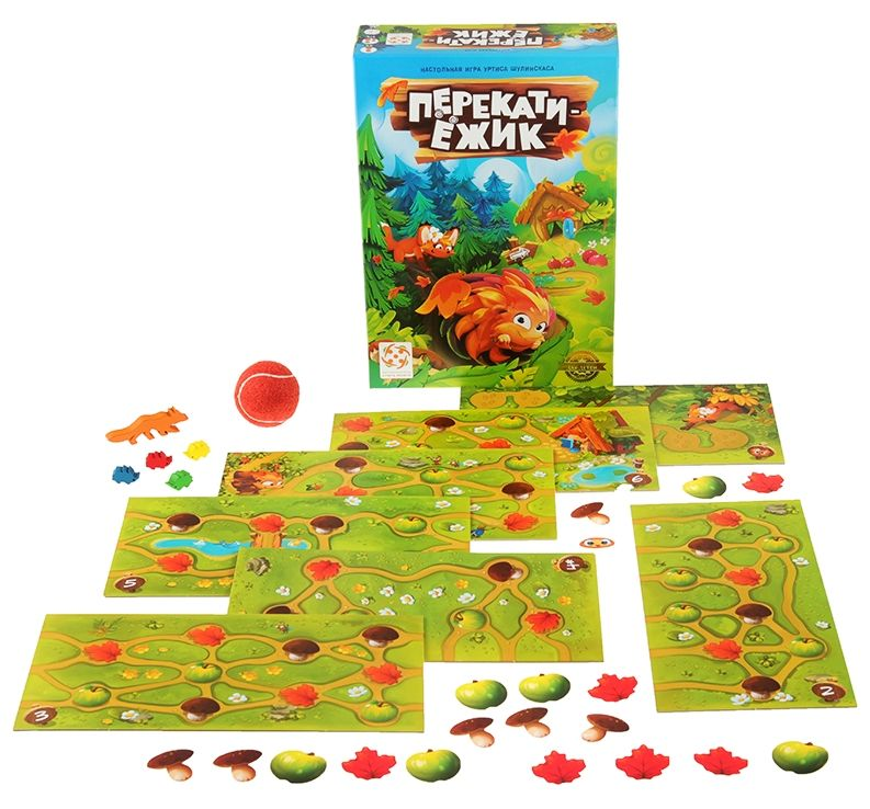 Коробка и компоненты игры Перекати-ёжик