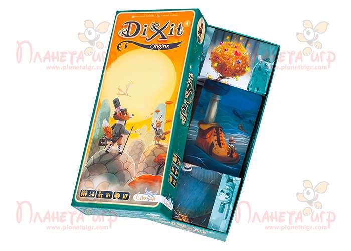 Настольная игра Диксит 4: Истоки и содержимое коробки с игрой