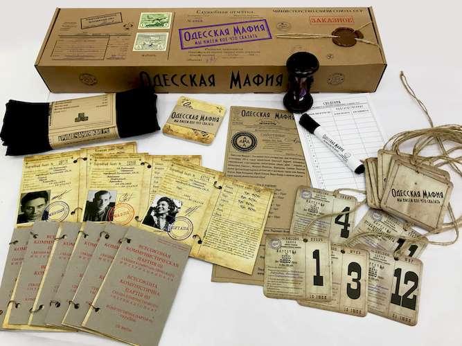 Коробка и компоненты настольной игры Одесская мафия