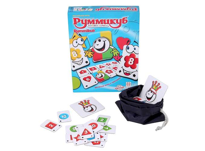 Коробка і компоненти настільної гри Руммикуб. Гарний початок
