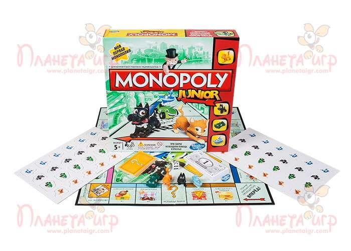 Настольная игра Моя первая монополия и компоненты игры