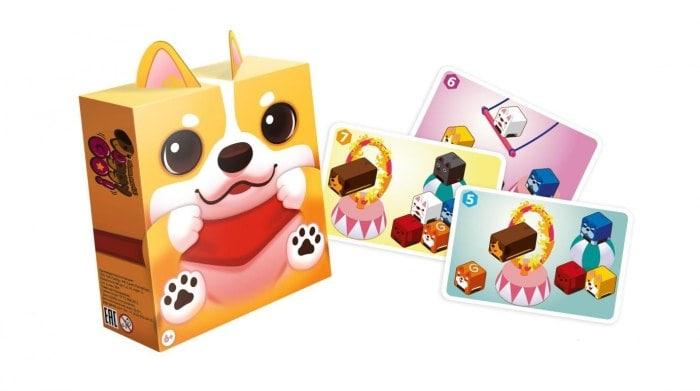 Коробка и компоненты игры Пёсики, вперёд!