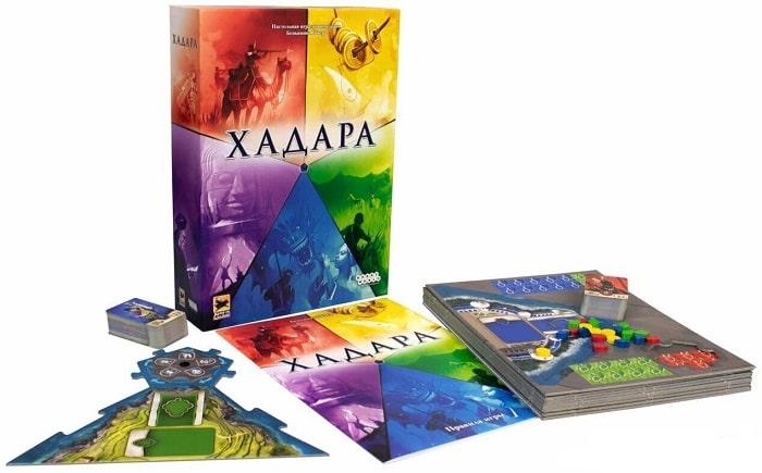 Настольная игра Хадара: коробка и компоненты